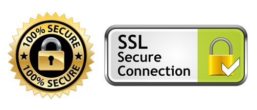 256-bit SSL Encryption. All Transactions are safe & secure.